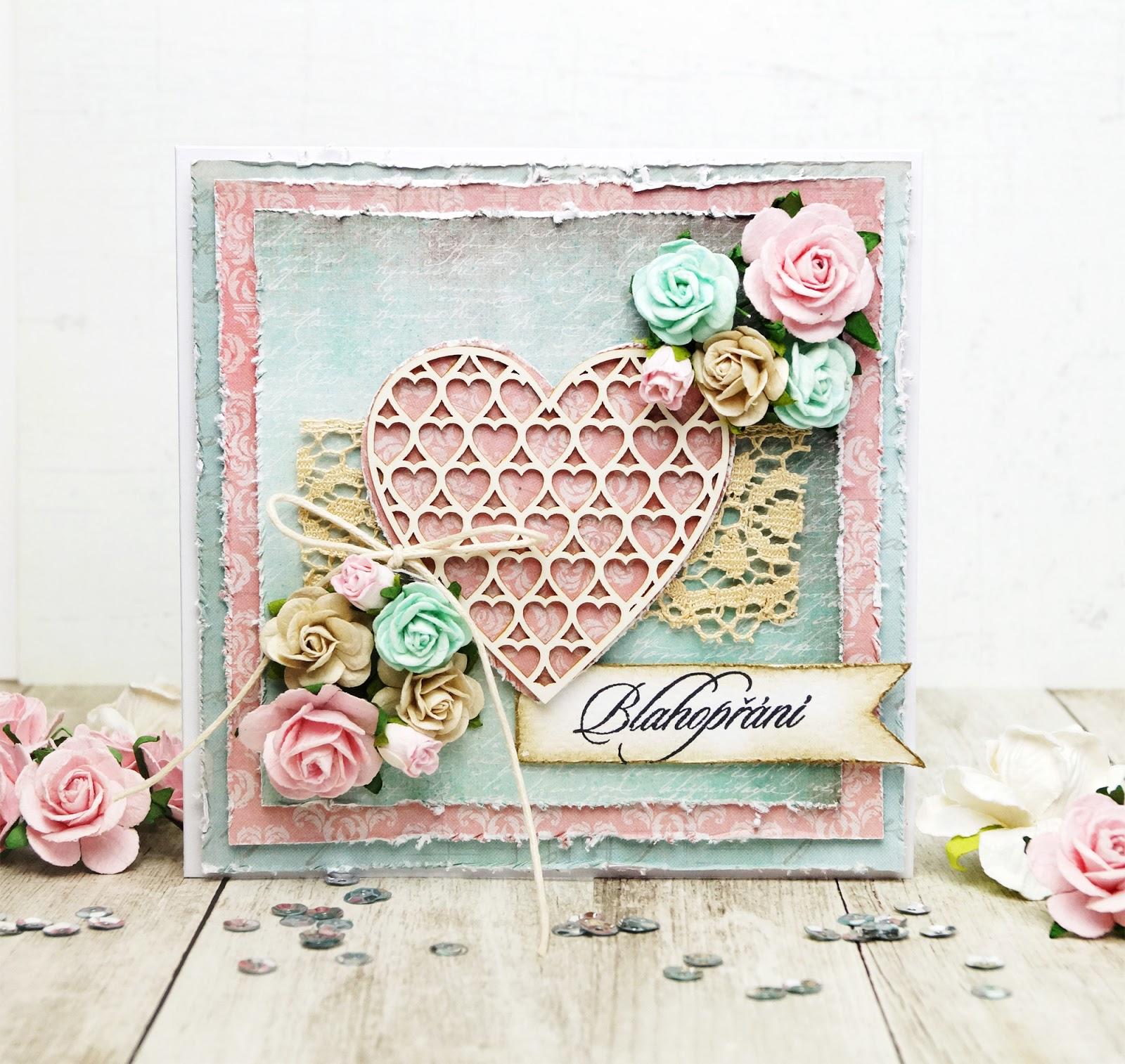 BIRTHDAY CARD - Vintage s růžičkami