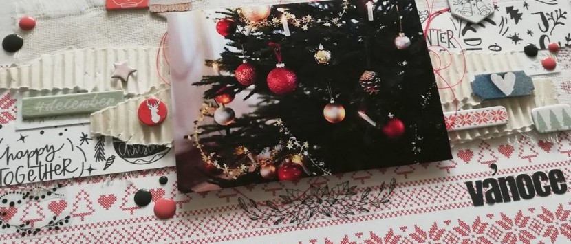 MÍŠA... Vánoční layout v červeno-bílé