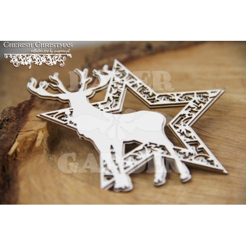 CHERISH CHRISTMAS - hvězda s jelenem (2 vrstvy)