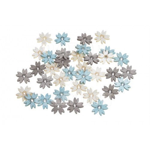 Dřevěné květy - tyrkysová, přírodní 36 ks