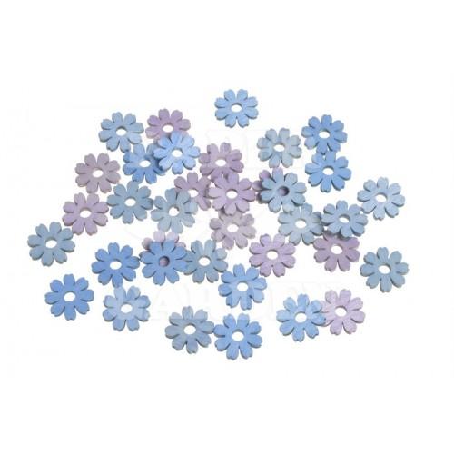 Dřevěné květy - modrá, růžová 36 ks