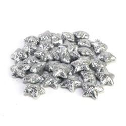 Glitrované hvězdičky - stříbrná 30 ks