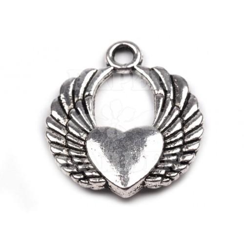 Okřídlené srdce 2 ks (platina)