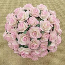Bílá / Baby Růžová žíhané (20 mm) - 10 ks