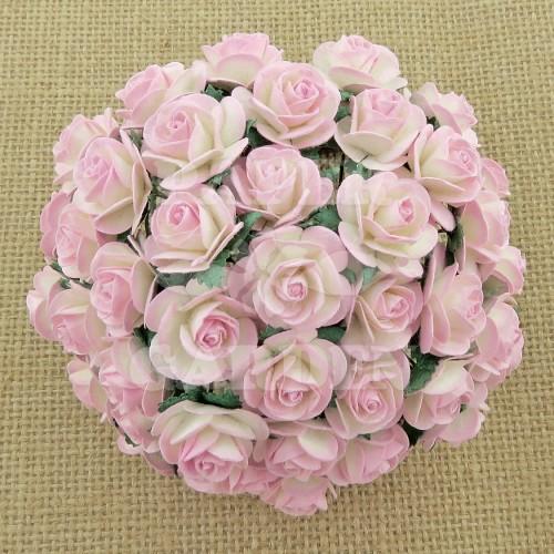 Bílá / Baby Růžová žíhané (10 mm) - 10 ks