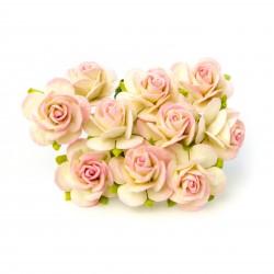 Bílá / Baby Růžová (20 mm) - 10 ks