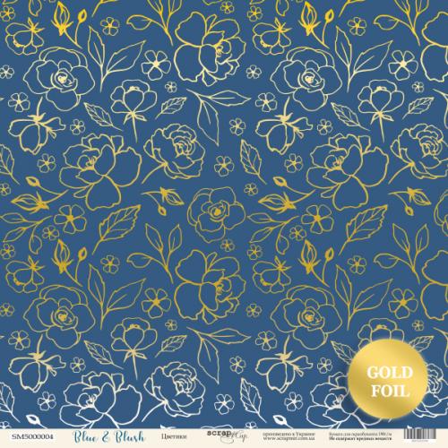 BLUE AND BLUSH - Flowers (pozlacený)