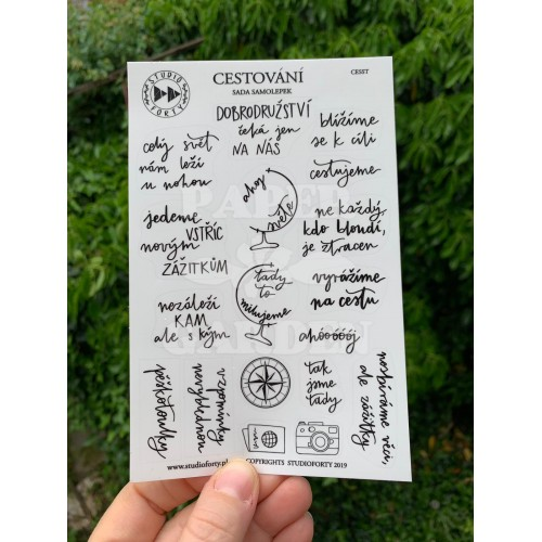 CESTOVÁNÍ - české transparentní samolepky